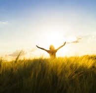 person in field with sun